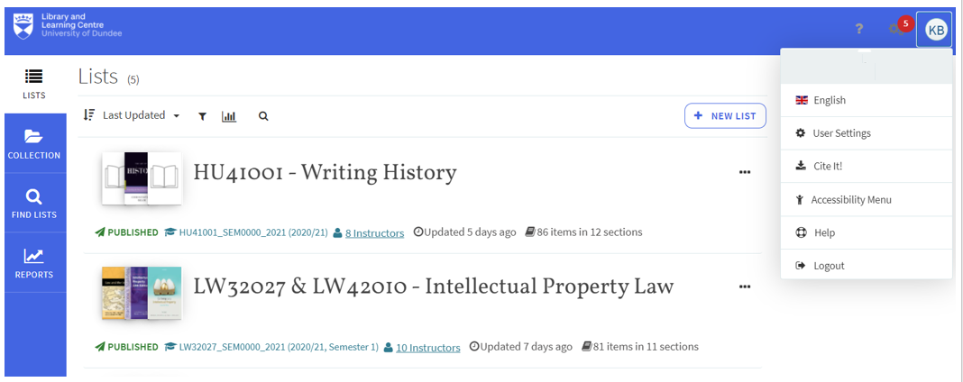When logged into Resource Lists, Help and Cite It! button are visible on the top right drop