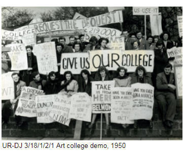 Art students demonstrating in 1950, holding banners.