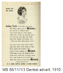 Advert for Ross the dentist in 1910 offering to take out aching teeth and supply you with pearly teeth to be proud of.
