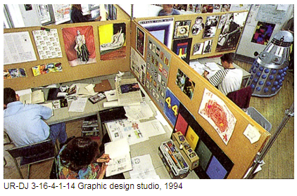 Graphic design studio 1994, with images of inspiration on the boards of office cubicles of the designers.