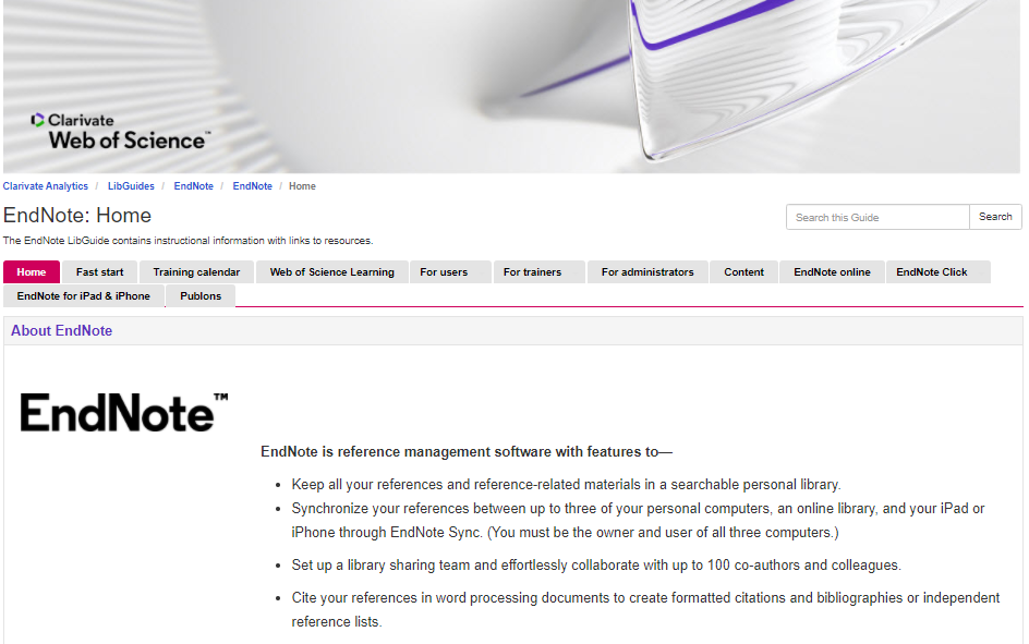 Clickable image of home page for EndNote user guide