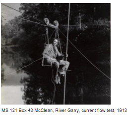 Current metering from a bousun's chair on the River Garry, 1913.