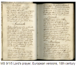 A handwritten book, open on pages which contain different European language versions of the Lord's prayer.