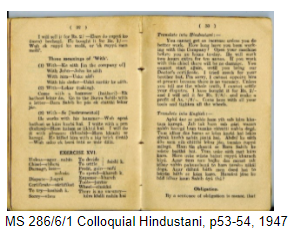 Open pages of a printed book, Colloquial Hindustani.