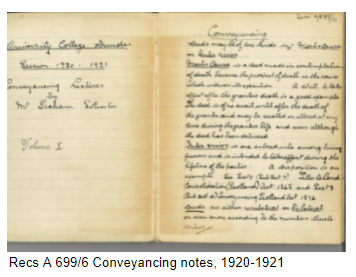 Handwritten conveyancing notes from the early 1920s.