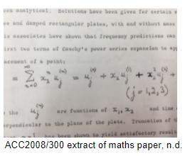 Handwritten mathematical equation, an extract of a maths paper.
