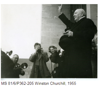 Winston Churchill being photographed by the press