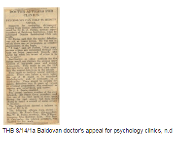 Newspaper cutting. Headlines for story, Doctor appeals for clinic, psychology can help to reduce crime.