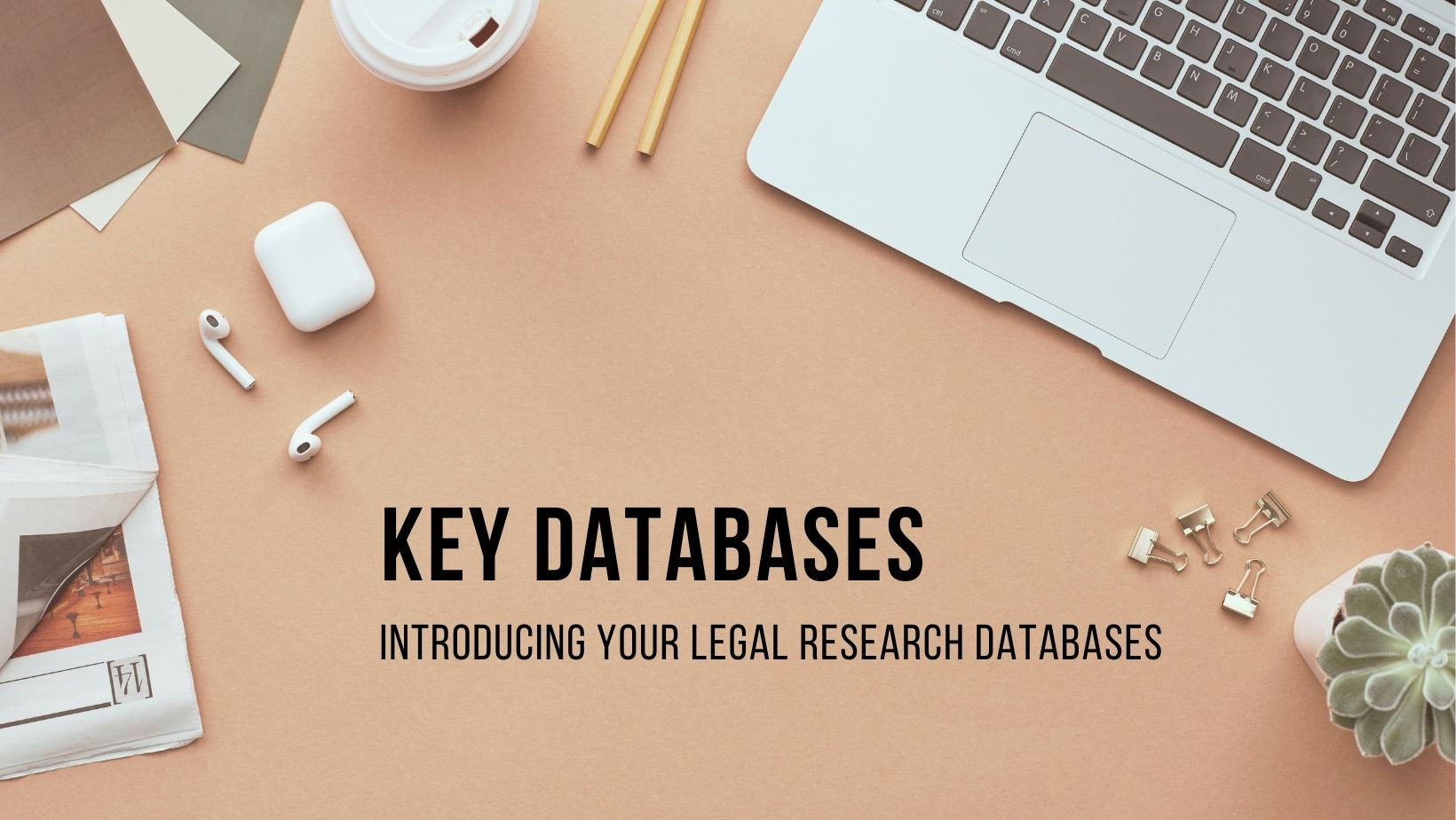 A pciture of a laptop, coffee and newspaper representing key legal databases