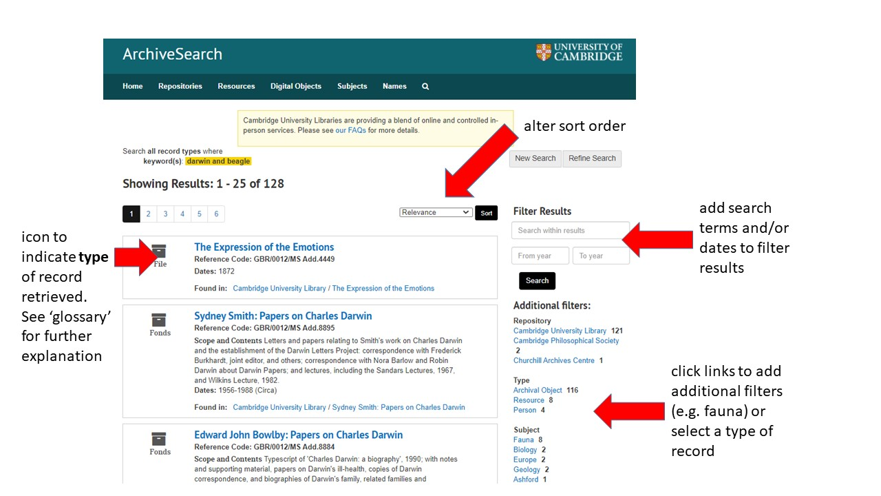 Image showing search results screen on ArchiveSearch. Please contact archivesearch@lib.cam.ac.uk for accessibility support.
