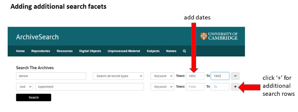 Image showing advanced searching on ArchiveSearch. Please contact archivesearch@lib.cam.ac.uk for accessibility support.