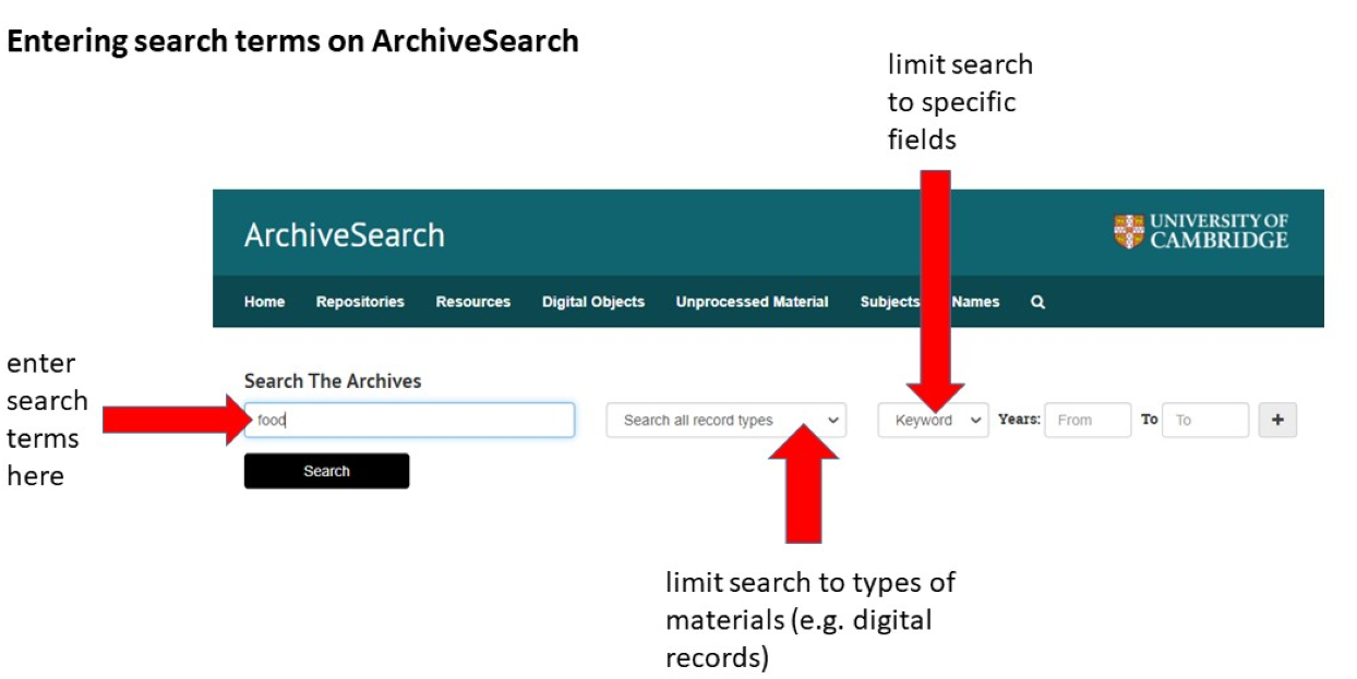 Image showing search screen on ArchiveSearch. Please contact archivesearch@lib.cam.ac.uk for accessibility support.