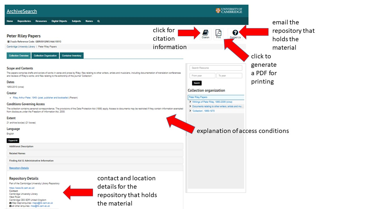 Options for using archive material. Please contact archivesearch@lib.cam.ac.uk for accessibility support.