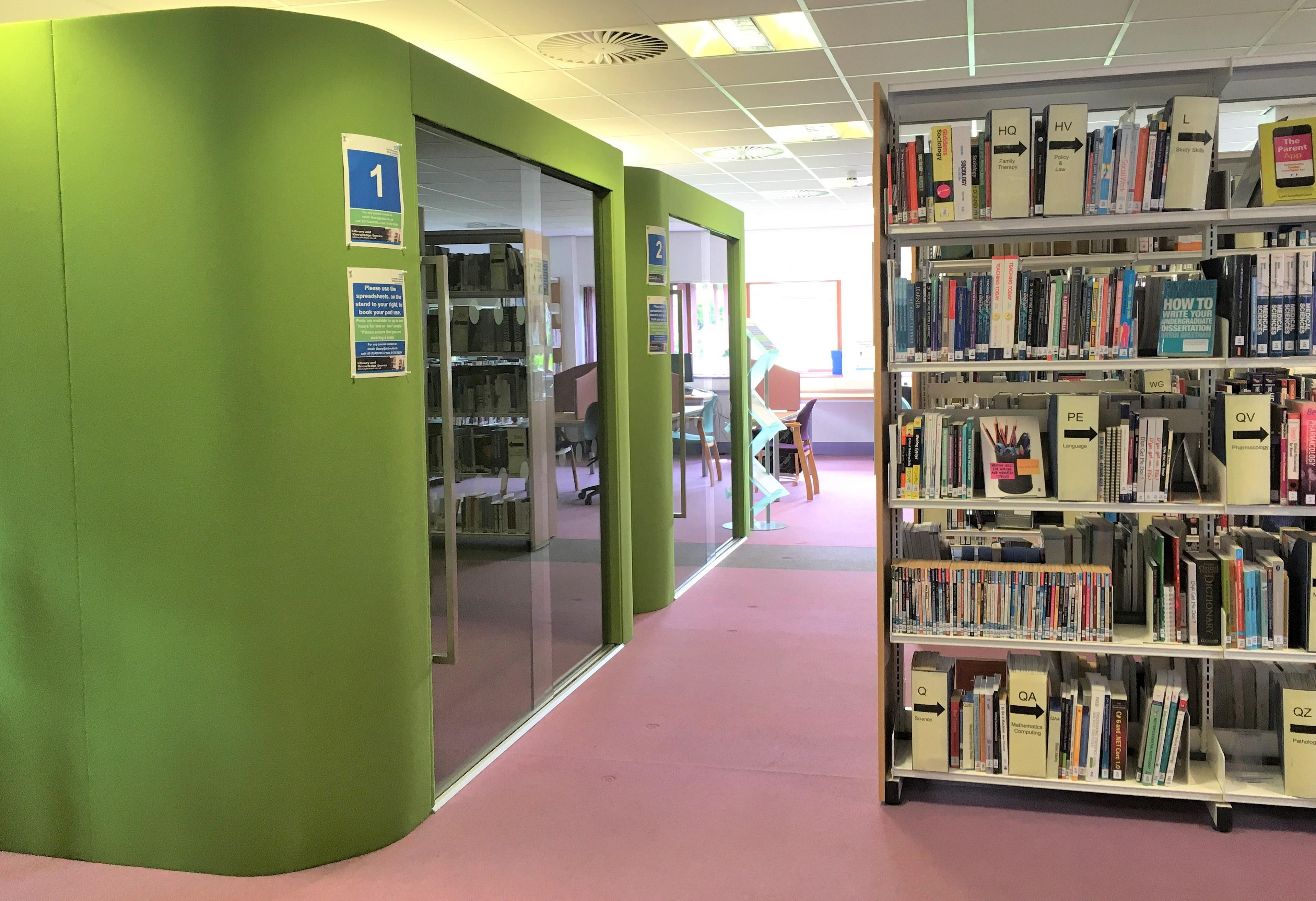 An image of the new study pods at Weston Hospital library.