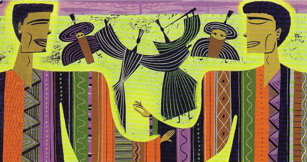 Artwork depicting two African figures facing each other in thoughtful dialogue with dynamic stylised ancestral figures between them.