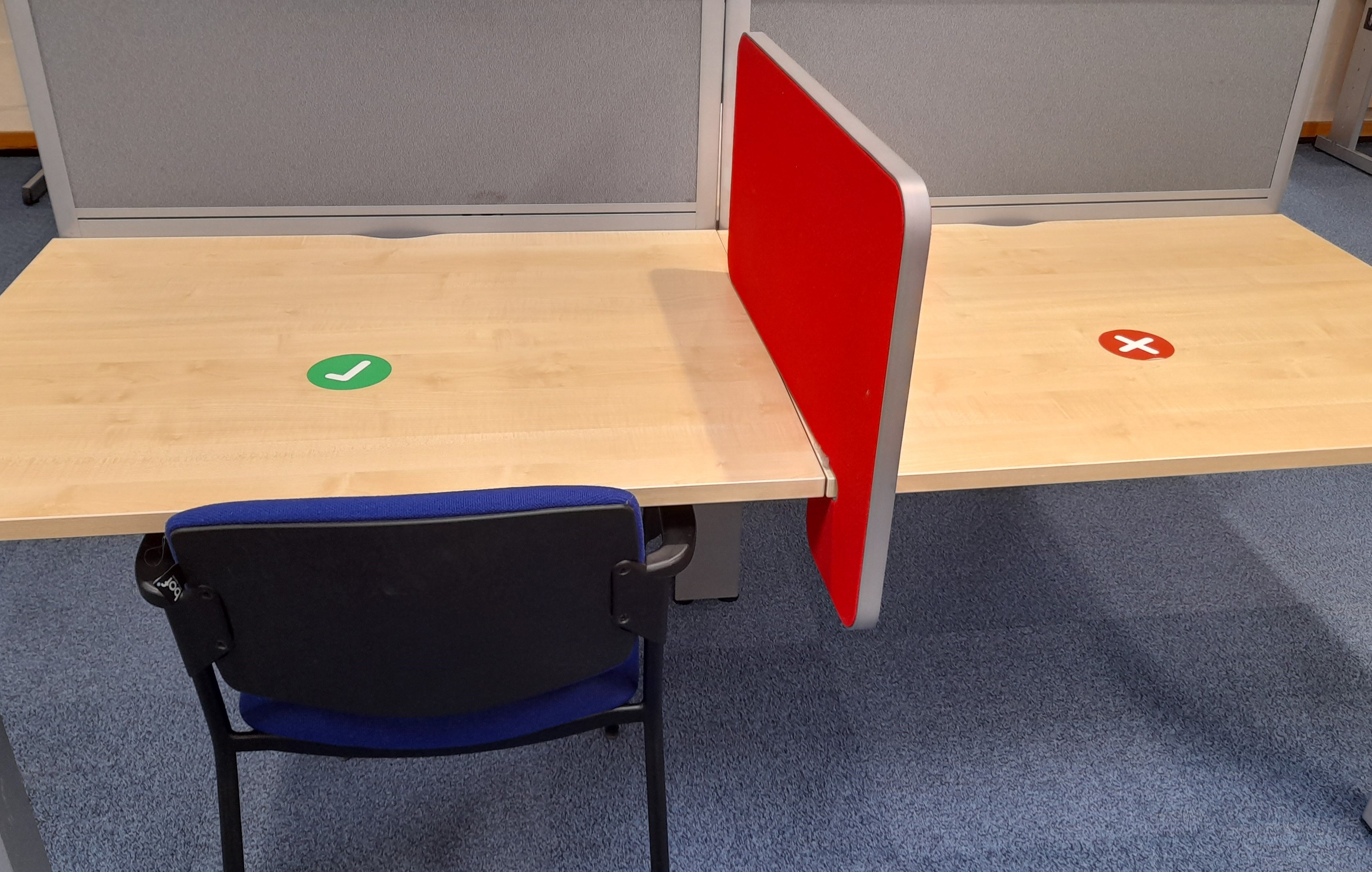 Study desks with a green tick can be used.