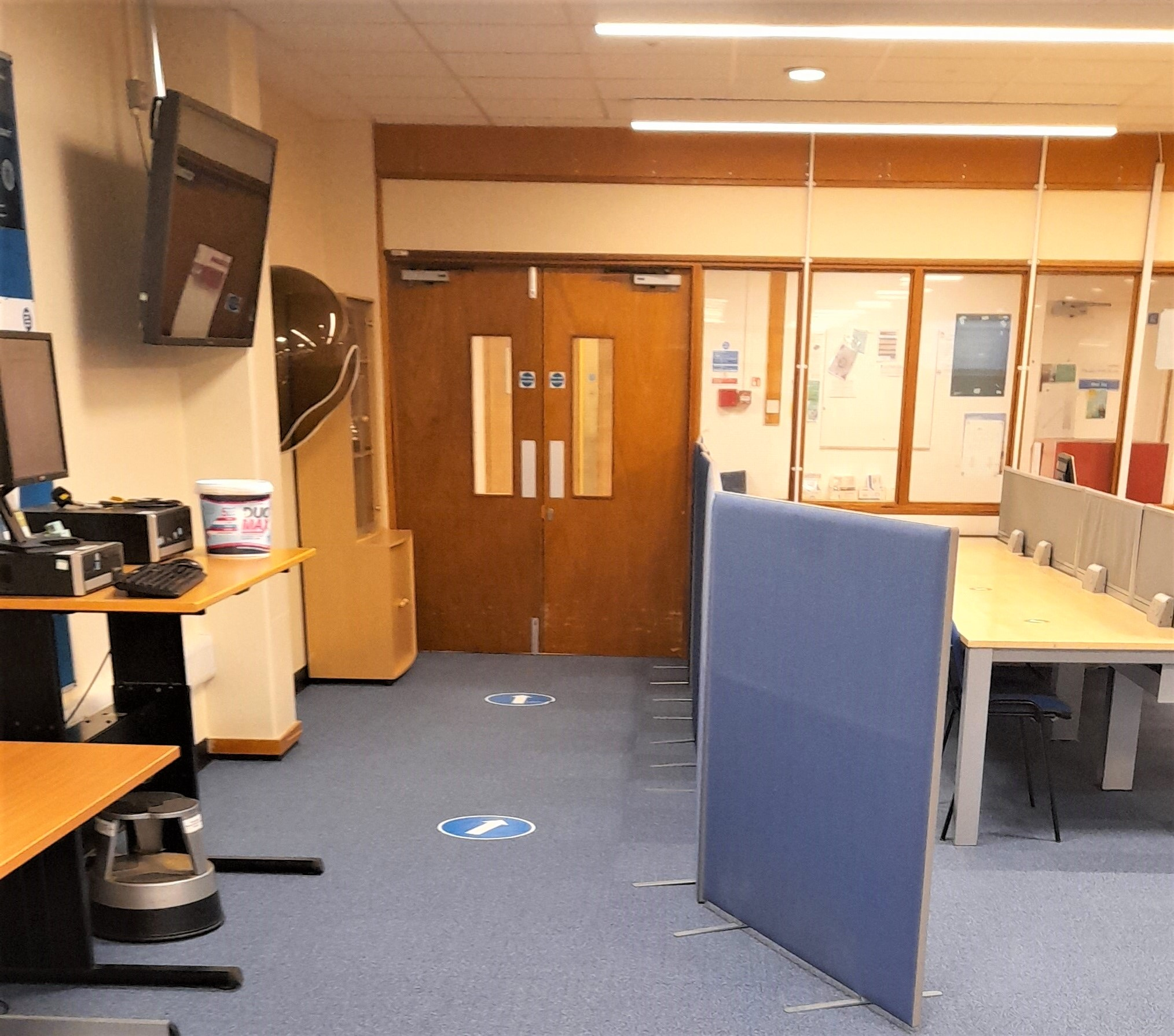 Public phone and exit of Health Services Library.