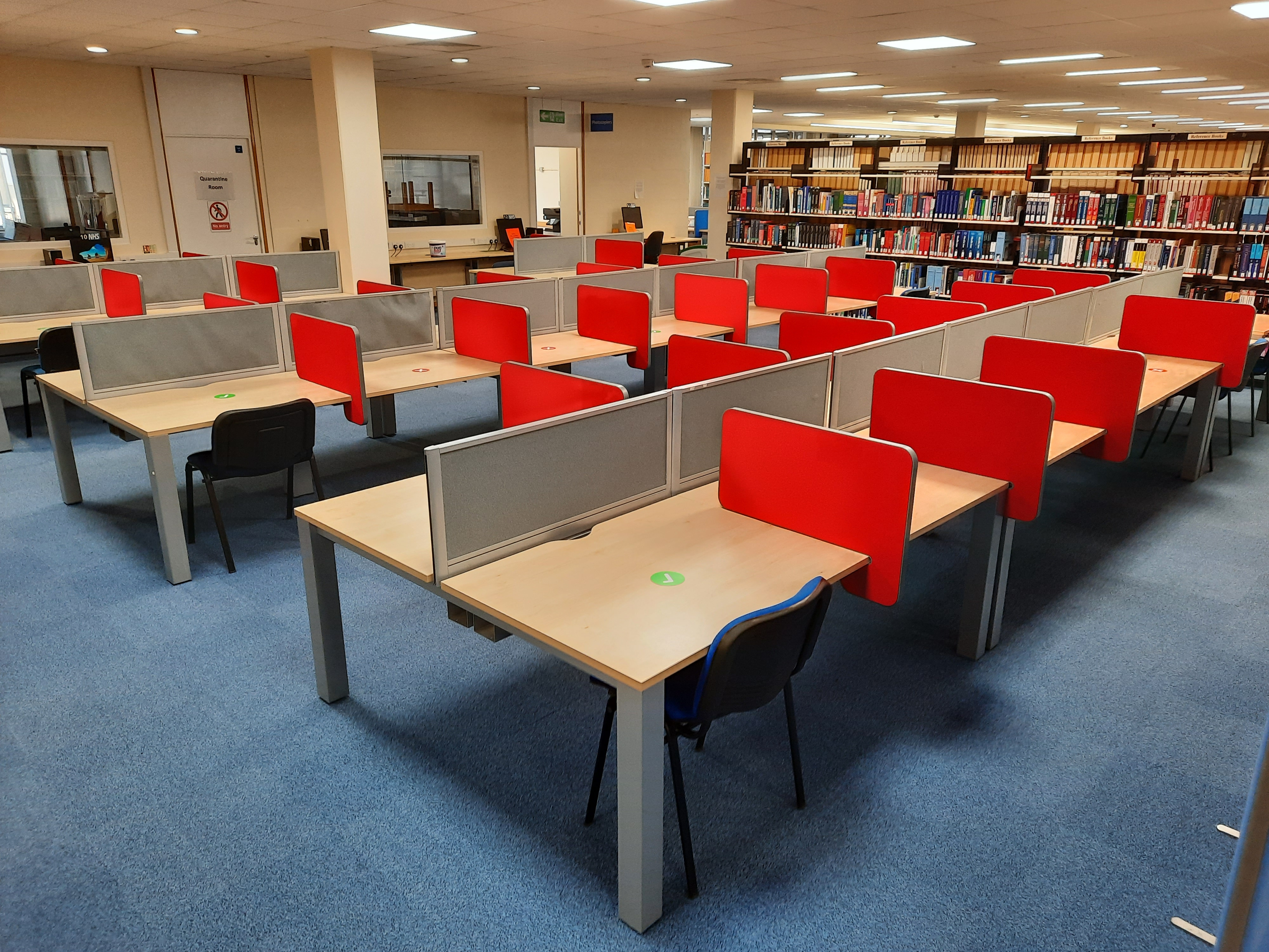 Study desks and the Reference books.