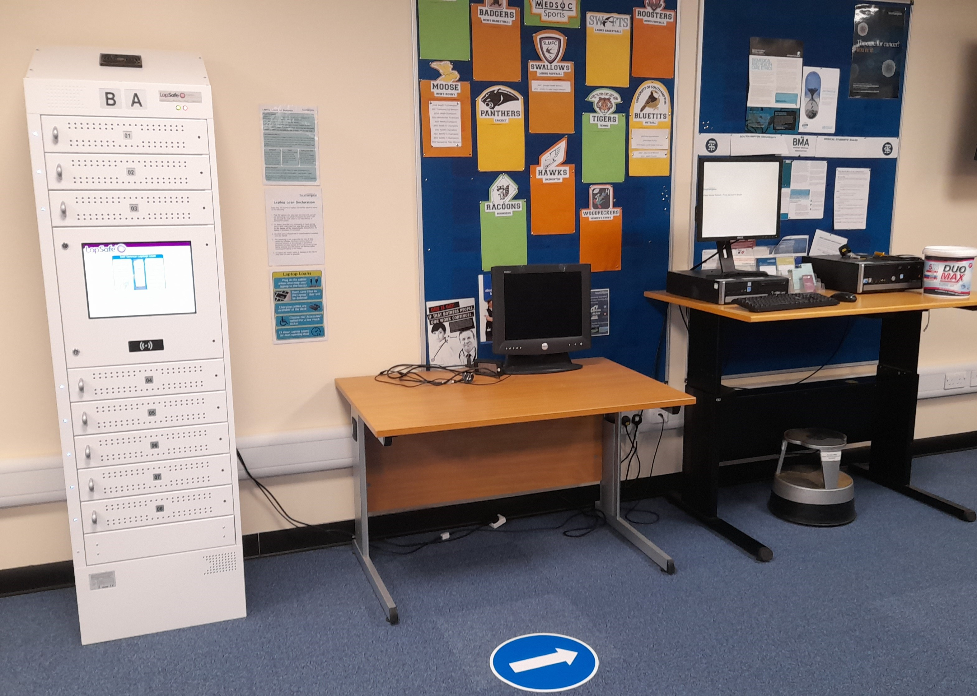Laptop locker and WebCat PC.