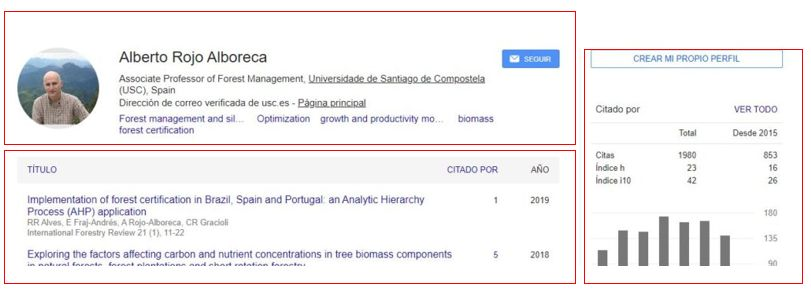 exemplo de perfil en Google Académico