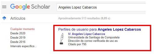 busca e visualización dun perfil en Google Académico