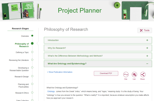 Fig 2: Sage Research Methods Project Planner Page