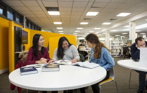 Photo of students at table in Merchiston Library