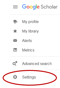 Google Scholar page showing settings