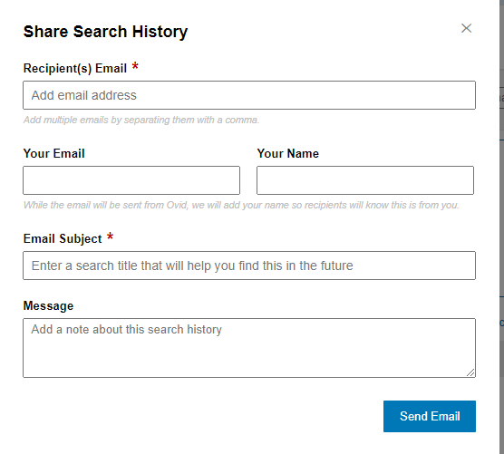 Screenshot of form to fill in when emailing search history. Fields to fill in include recipients and senders email, name and notes.