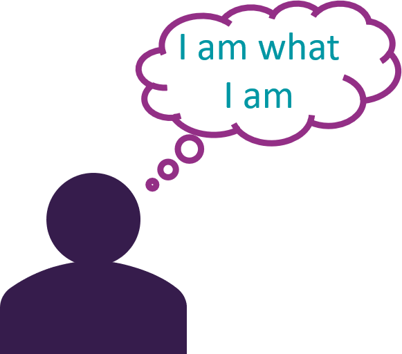 icon - person thinking 'I am what I am'