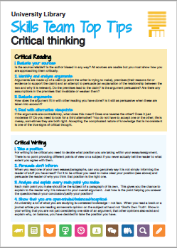 Thumbnail images of critical thinking guide