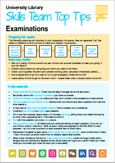 Examinations top tips printable guide