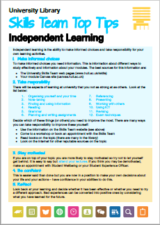 Thumbnail of Independent Learning Top Tips document