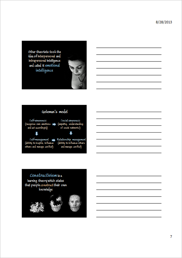 Powerpoint handouts for note making