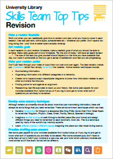 Revision top tips printable guide