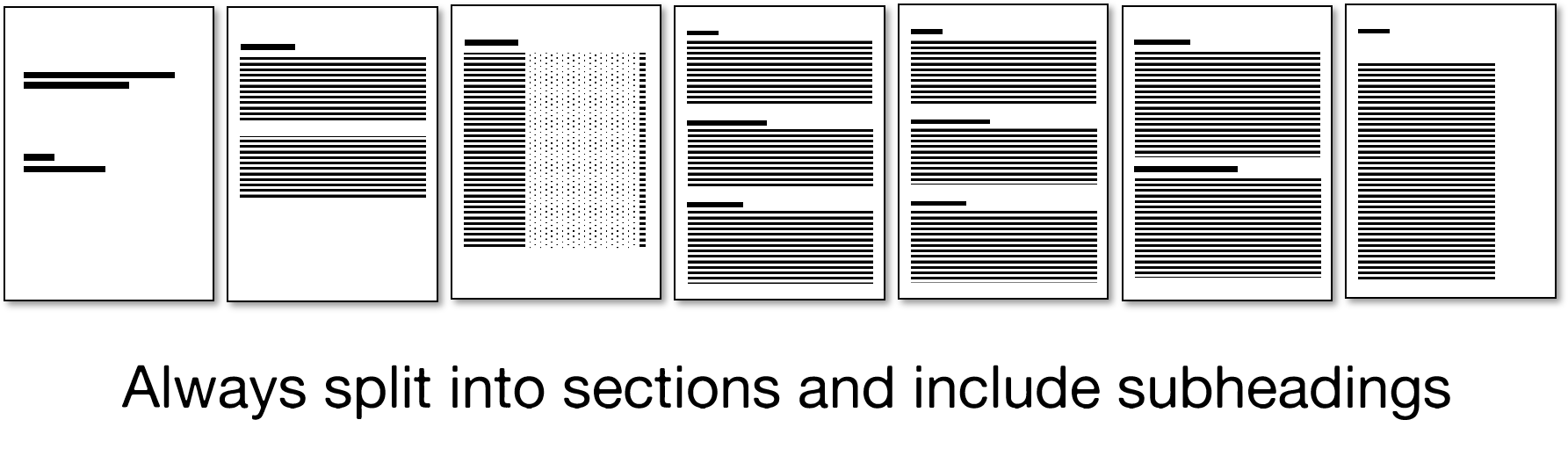 visualisation of a report showing different sections split over several pages