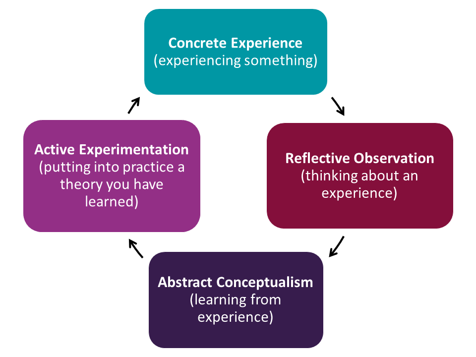 Concrete Experience (experiencing something) Reflective Observation (thinking about an experience) Abstract Conceptualism (learning from experience) Active Experimentation (putting into practice a theory you have learned)
