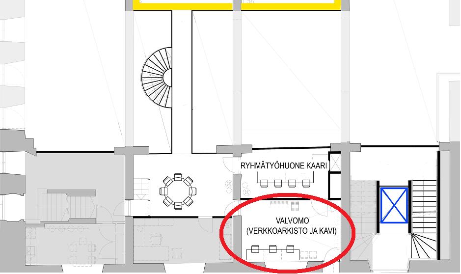 Kartta missä Teutorin työasemat sijaitsevat.