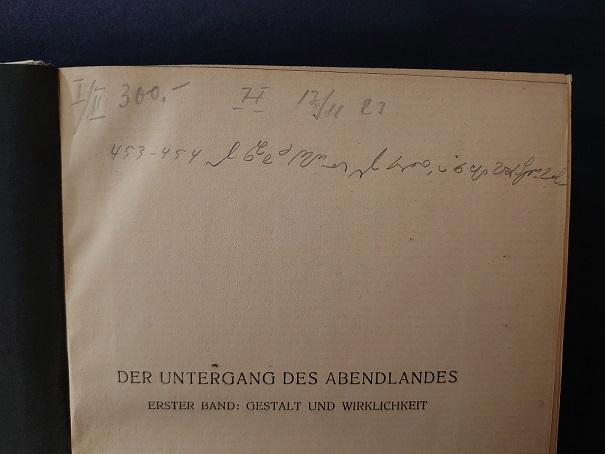 Paasikiven reunamerkintä Der Untergang des Abendlandes -nimisessä kirjassa.