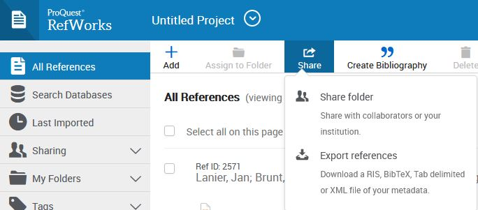 RefWorksin ylävalikko, jossa on valittuna All References -kansio ja Share-valikko on näkyvissä.