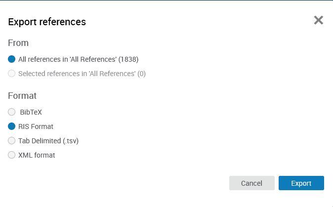 Export References -valikko, jossa on valittuna All references in All References ja Format-valikossa RIS Format.