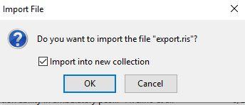 """Valikko, jossa kysytään """"Do you want to import the file """"export.ris""""? Valittavana on Import into new collection""""."""