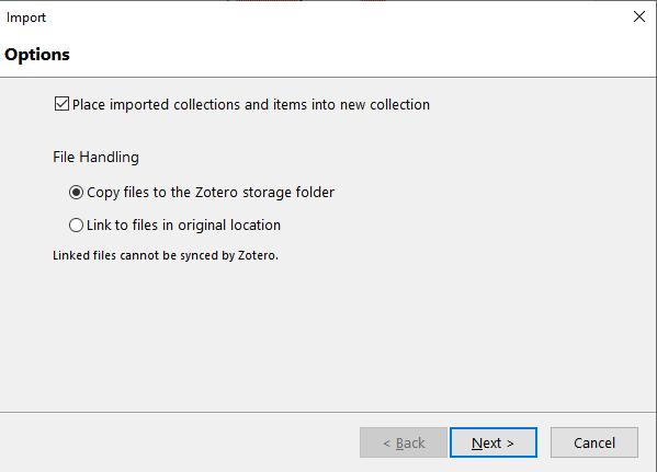 Valintaruutu, jossa valitaan tallennetaanko viitteet uuteen kokoelmaan ja tallennetaanko tiedosto myös Zoteron omaan kansioon.
