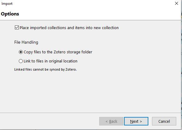 Zoteron import-vientiä havainnollistva ponnahdusikkuna. Ohjeet edeltävässä tekstissä.