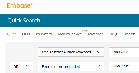 Quick-search in EMBASE