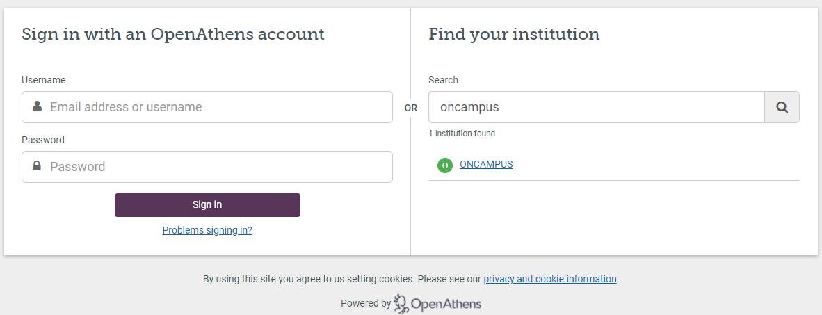 OnCampus login screen