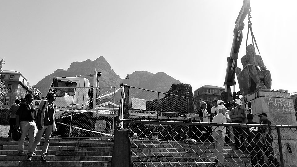 Removal of the statue of Cecil Rhodes (sculptor: Marion Walgate) from the campus of the University of Cape Town, 9 April 2015