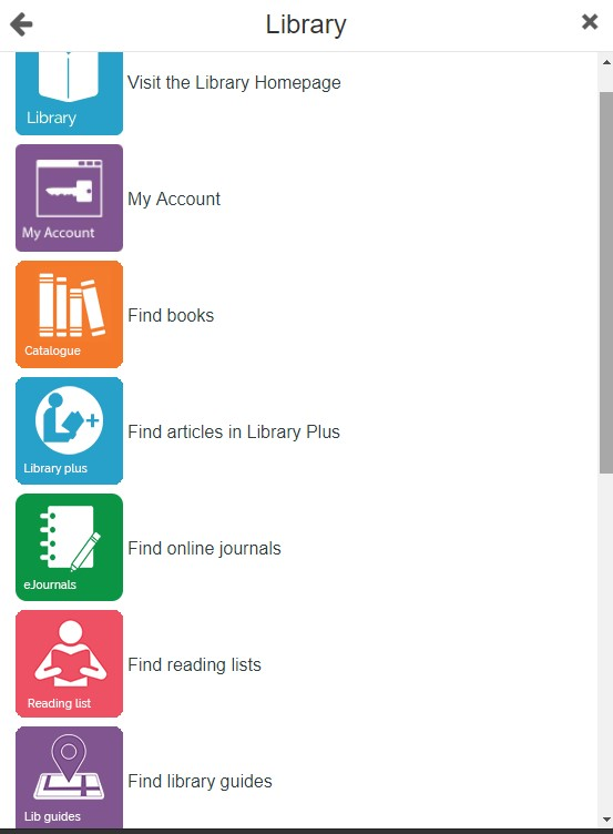Image of options you get when you click on the Library tile in UDo