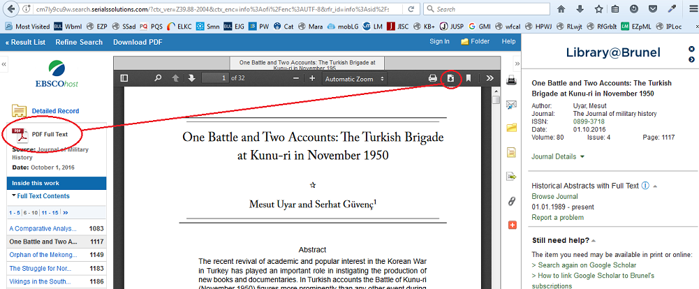PDF viewer on a Firefox browser viewing content at EBSCOhost