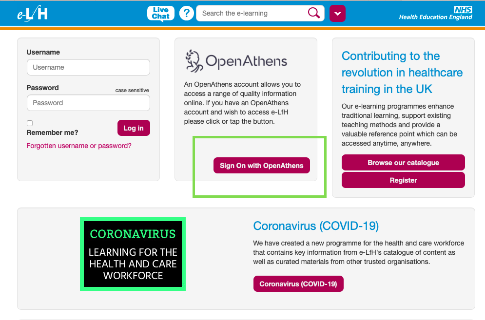 e-Learning for Healthcare > Sign On with OpenAthens